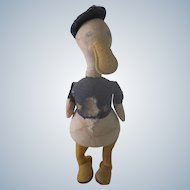 Old Donald Duck Stuffed Doll Toy c1930's