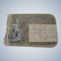 Old Miniature Child's Victorian Autograph Book Doll Accessoryc1895