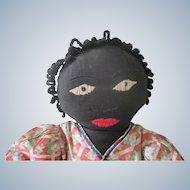 Old Vintage Black Cloth Rag Doll c1930