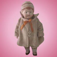 Antique Papier Mache Little Girl Doll c1915