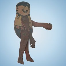 Old Miniature Wooden Brownie Doll Toy c1910