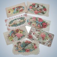 Set of Seven Old Victorian Valentine Cards c1900