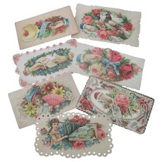 Set of Seven Old Victorian Valentine Cards c1900