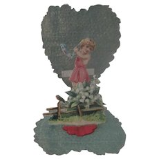 Old Victorian Fold Out Die Cut Valentine Card with a Little Girl and Flower Garland c1900