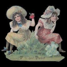 "Large Old Victorian Die Cut Valentine Card 7 3/4"" x 7"""