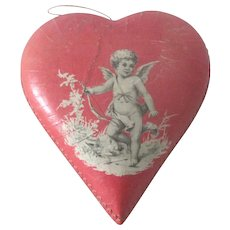 Old Vintage German Valentine Chocolate Candy Box with Cherub Doll Accessory c1930