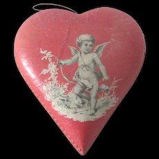 Old Vintage German Valentine Chocolate Candy Box with Cherub Doll Accessory c1930