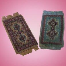 Set of Two Vintage Miniature Velvet Dollhouse Rugs