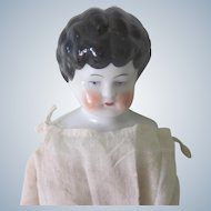Old German China Head Doll with Hand Painted Ribbons C1880