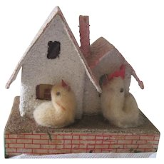 On Hold for Kira! Vintage Miniature Japanese Putz Easter House with Spun Cotton Chick and Rooster c1940