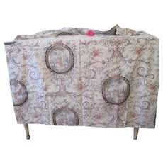 Reserved for Billie! Stunning Antique French Floral Pastoral Cotton Toile Fabric Curtain C1880