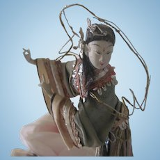 Old Vintage Papier Mache Chinese Opera Doll c1930