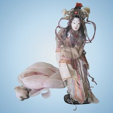 Old Vintage Papier Mache Ornate Chinese Opera Doll c1940