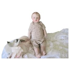 Old Papier Mache Cloth Stuffed Baby Doll c1910