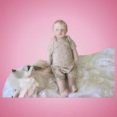 Old Papier Mache Cloth Stuffed Baby Doll c1910