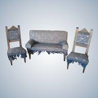 Antique Victorian Miniature Dollhouse Parlor Furniture Set