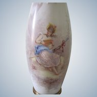 Antique French Handpainted Opaline Glass Flower Vase with 18th Century Lady c1900