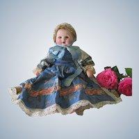Vintage French Papier Mache Baby Doll in Fancy Dress c1950