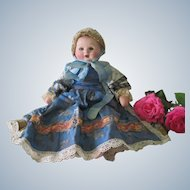 Vintage French Papier Mache Baby Doll in Fancy Dress c1950