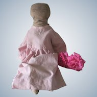 Antique Handmade  Cloth Doll with Hand Drawn Face c1915