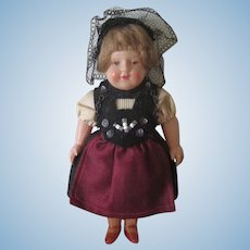 Vintage German Miniature Celluloid Doll in Traditional Costume c1950