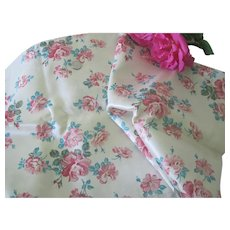 "Vintage 1950's Satin Fabric with Roses 45"" x 50"" Doll Clothing"