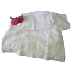 "Old Floral Garland Embroidered Monogrammed ""G"" Linen Pillowcase Pair c1900"