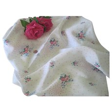 "Vintage 1950's Cotton Linen Blend Ditsy Rose Floral Fabric Doll Clothing 48"" x 44"""