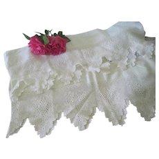 Vintage Handmade Cream Crochet Lace Trim Yardage c1930