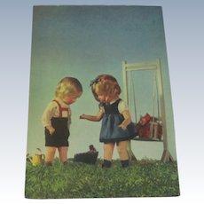 Vintage German Kathe Kruse Doll Postcard c1950