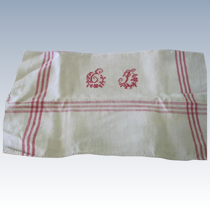 Old French Heavy Homespun Linen Kitchen Towel Tablecloth W Monogram La Muse Antiques Ruby Lane