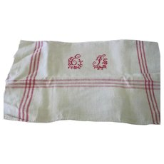 Old French Heavy Homespun Linen Kitchen Towel Tablecloth w/ Monogram