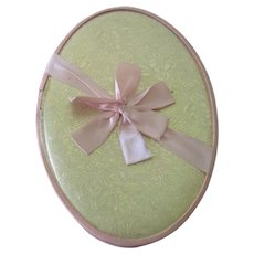 Vintage Fancy Gold Easter Egg Candy Box Container with Satin Ribbon c1950