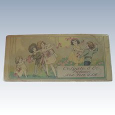 Old Miniature Perfume Box with Flowers and Children c1900 Doll Accessory
