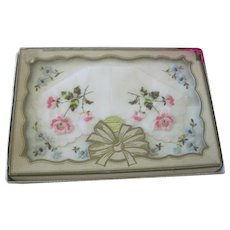 Vintage 1950's Unused Boxed Set of Two Floral Embroidered Swiss Made Handkerchiefs