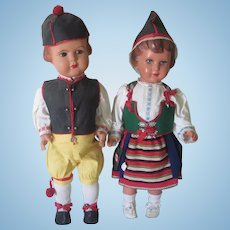 Vintage 1950's Celluloid Swedish Folk Doll Pair in Traditional Costumes