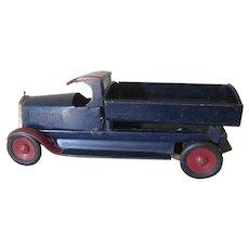 Vintage 1920's Turner Pressed Metal Toy Dump Truck