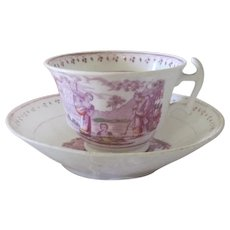 Old Mid 19thc English Pink Lustreware Teacup and Saucer