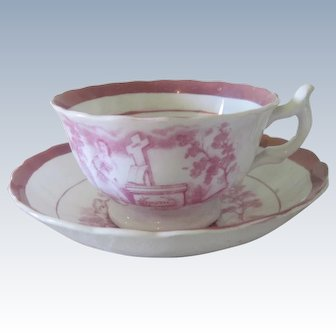 Old Mid 19th c English Pink Lustreware Teacup and Saucer