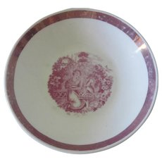 Old Mid 19thc English Pink Lustreware Saucer Plate with Girl and Cat