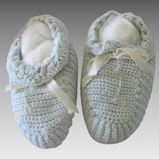 Vintage Hand Knit Baby/Doll Booties Shoes with Floral Detaining c1950