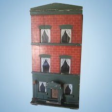 Antique English Silber and Fleming? Three Story Townhouse Dollhouse c1880