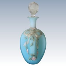 Antique French Opaline Glass Perfume Bottle with Ribbon and Rose Garland c1900