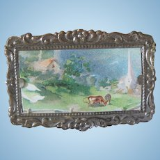 Old Miniature Dollhouse Framed Picture of Rural Scene c1900