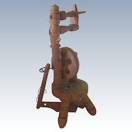Old Vintage German Wooden Miniature Dollhouse Spinning Wheel