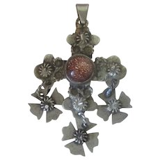 Vintage Handmade Mexican Tasco Sterling Silver Tiger Eye Cross Crucifix Pendant