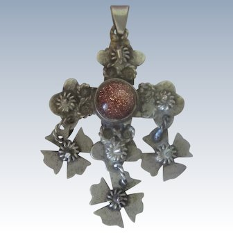 Vintage Handmade Mexican Tasco Sterling Silver Tiger Eye Cross Crucifix Pendant