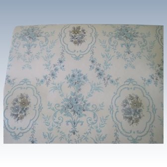 Vintage Roll of Blue and Cream Floral Wallpaper c1950's - 60's