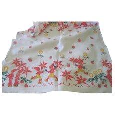 Vintage Swedish Christmas Table Runner Cloth c1960