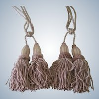 Vintage French Pair of Dusty Pink Curtain Tie Backs Tassels